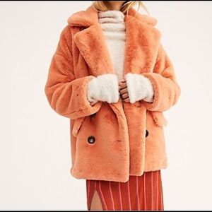 NWT Free People Faux Fur Coat Sz XS